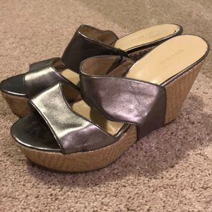 Silver strappy wedges